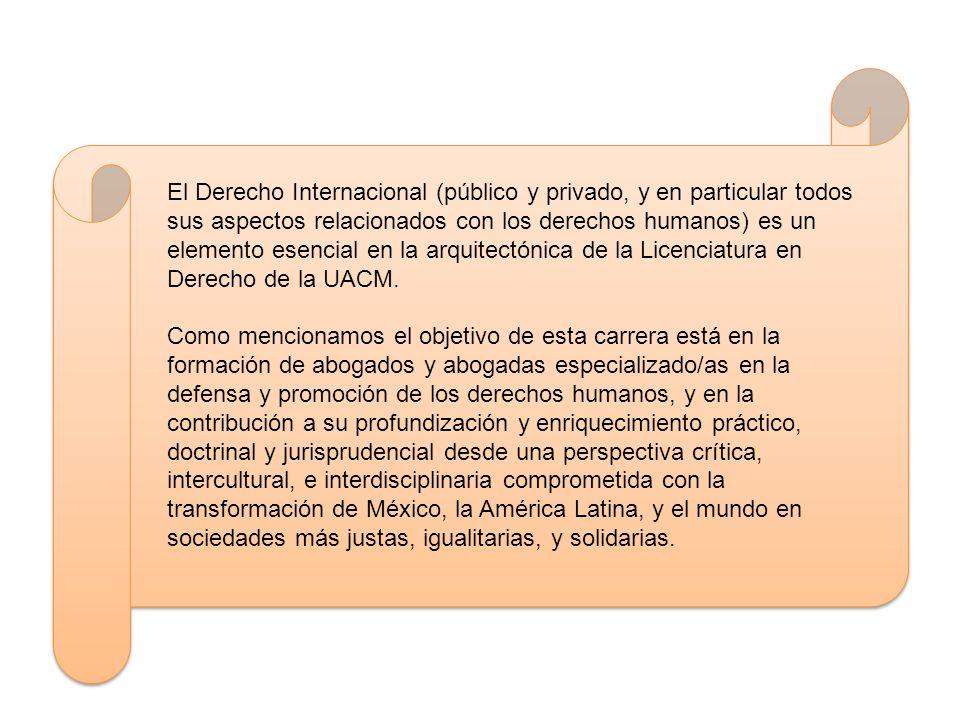 El Derecho Internacional (público y privado, y en particular todos sus aspectos relacionados con los derechos humanos) es un elemento esencial en la a