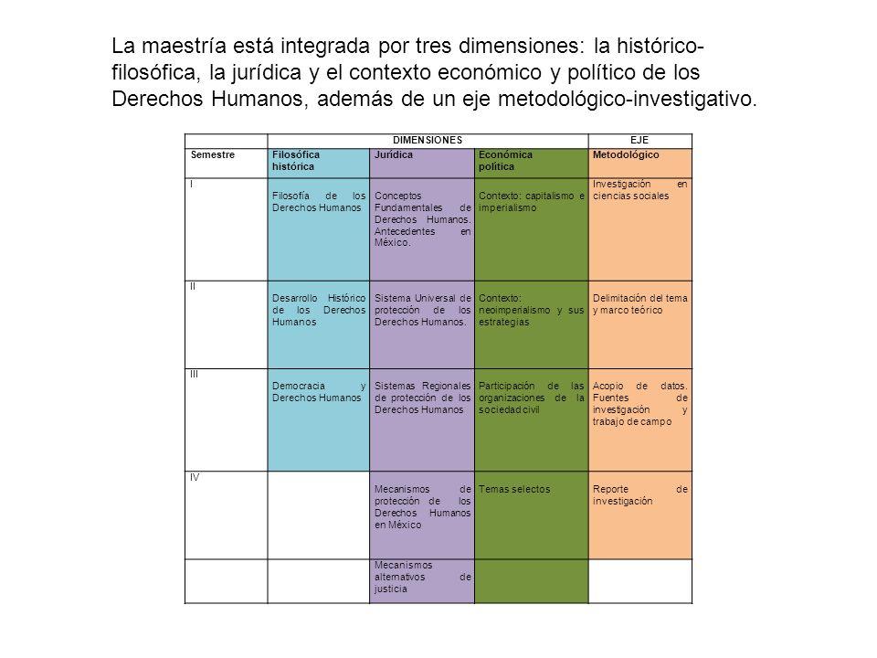 La maestría está integrada por tres dimensiones: la histórico- filosófica, la jurídica y el contexto económico y político de los Derechos Humanos, ade