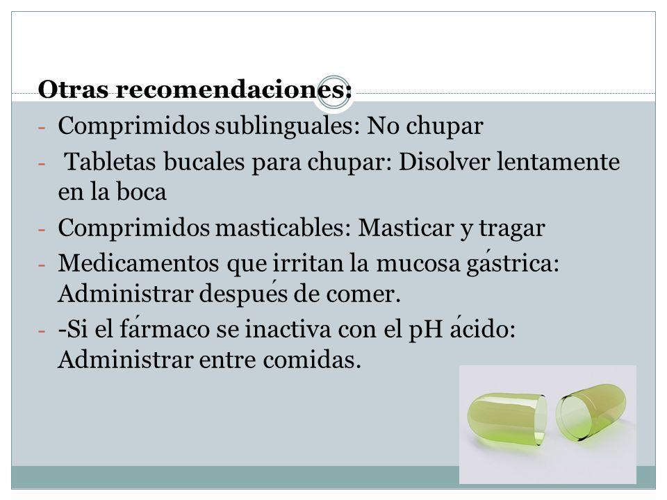 Otras recomendaciones: - Comprimidos sublinguales: No chupar - Tabletas bucales para chupar: Disolver lentamente en la boca - Comprimidos masticables: