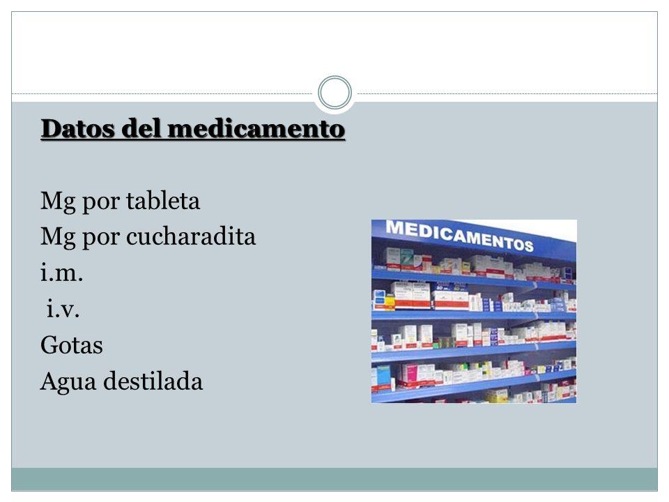 Datos del medicamento Mg por tableta Mg por cucharadita i.m. i.v. Gotas Agua destilada