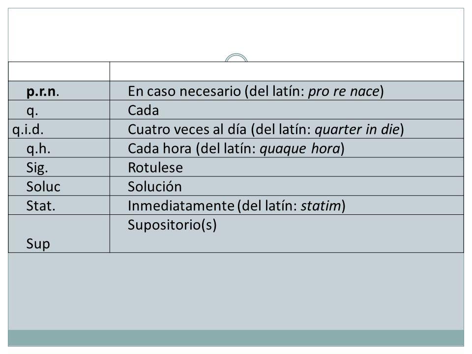 p.r.n. En caso necesario (del latín: pro re nace) q. Cada q.i.d. Cuatro veces al día (del latín: quarter in die) q.h. Cada hora (del latín: quaque hor