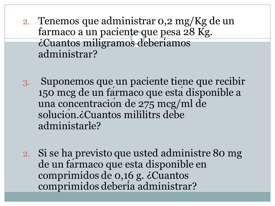 2. Tenemos que administrar 0,2 mg/Kg de unfarmaco a un paciente que pesa 28 Kg.¿Cuantos miligramos deberi amos administrar? 3. Suponemos que un pacien