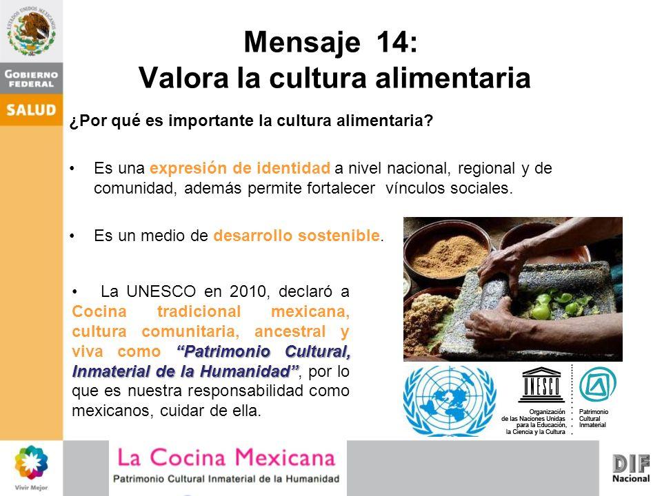 Mensaje 14: Valora la cultura alimentaria ¿Por qué es importante la cultura alimentaria? Es una expresión de identidad a nivel nacional, regional y de