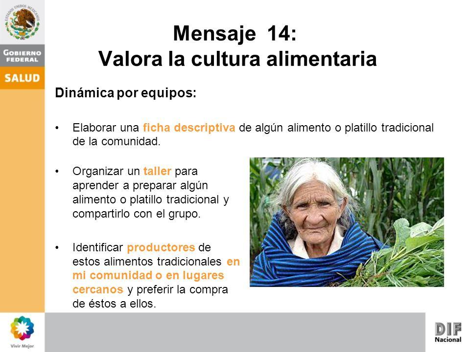 Mensaje 14: Valora la cultura alimentaria Preguntas que se pueden realizar a los participantes: ¿Conocías todos los alimentos que integraron en las fichas descriptivas.