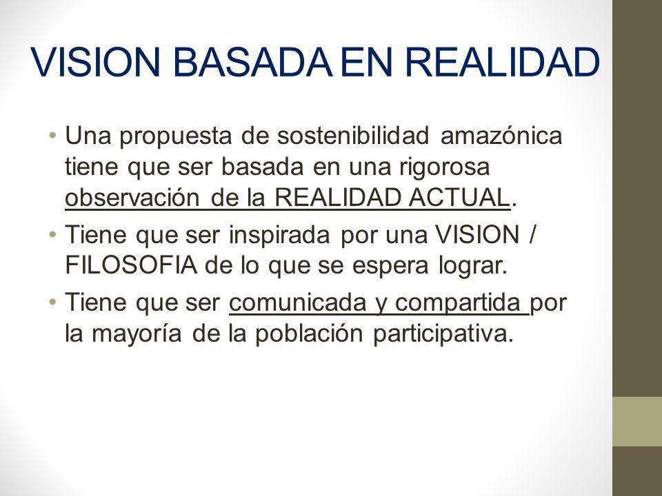 VISION BASADA EN REALIDAD Una propuesta de sostenibilidad amazónica tiene que ser basada en una rigorosa observación de la REALIDAD ACTUAL. Tiene que