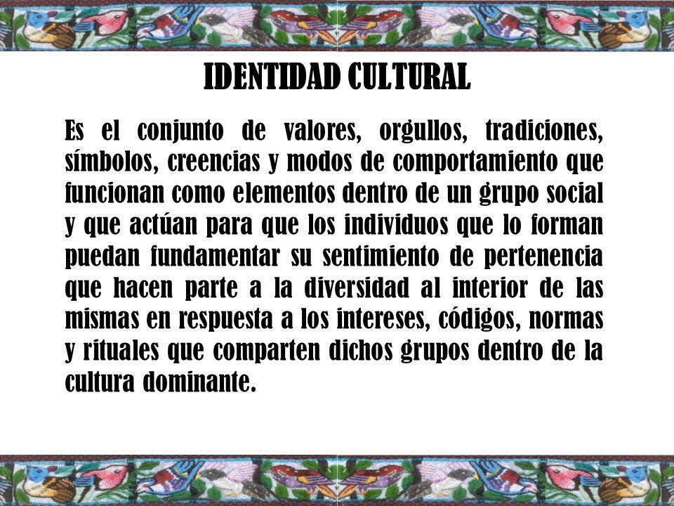 IDENTIDAD CULTURAL Es el conjunto de valores, orgullos, tradiciones, símbolos, creencias y modos de comportamiento que funcionan como elementos dentro de un grupo social y que actúan para que los individuos que lo forman puedan fundamentar su sentimiento de pertenencia que hacen parte a la diversidad al interior de las mismas en respuesta a los intereses, códigos, normas y rituales que comparten dichos grupos dentro de la cultura dominante.