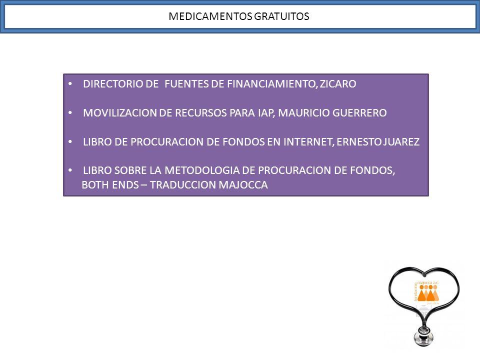DIRECTORIO DE FUENTES DE FINANCIAMIENTO, ZICARO MOVILIZACION DE RECURSOS PARA IAP, MAURICIO GUERRERO LIBRO DE PROCURACION DE FONDOS EN INTERNET, ERNES