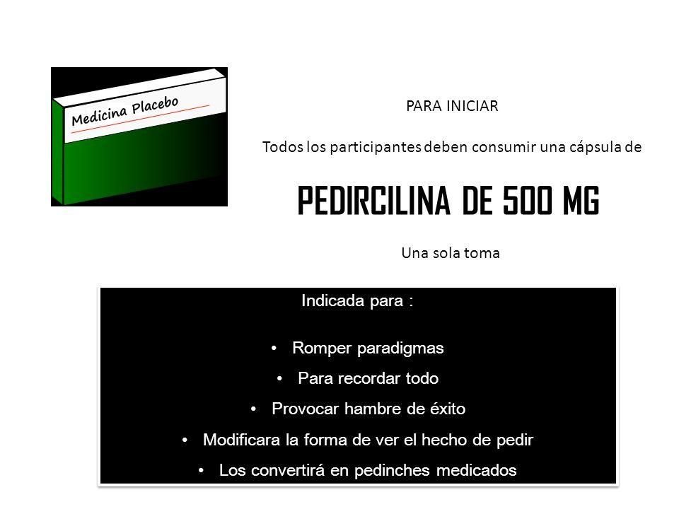 PARA INICIAR Todos los participantes deben consumir una cápsula de PEDIRCILINA DE 500 MG Una sola toma Indicada para : Romper paradigmas Para recordar