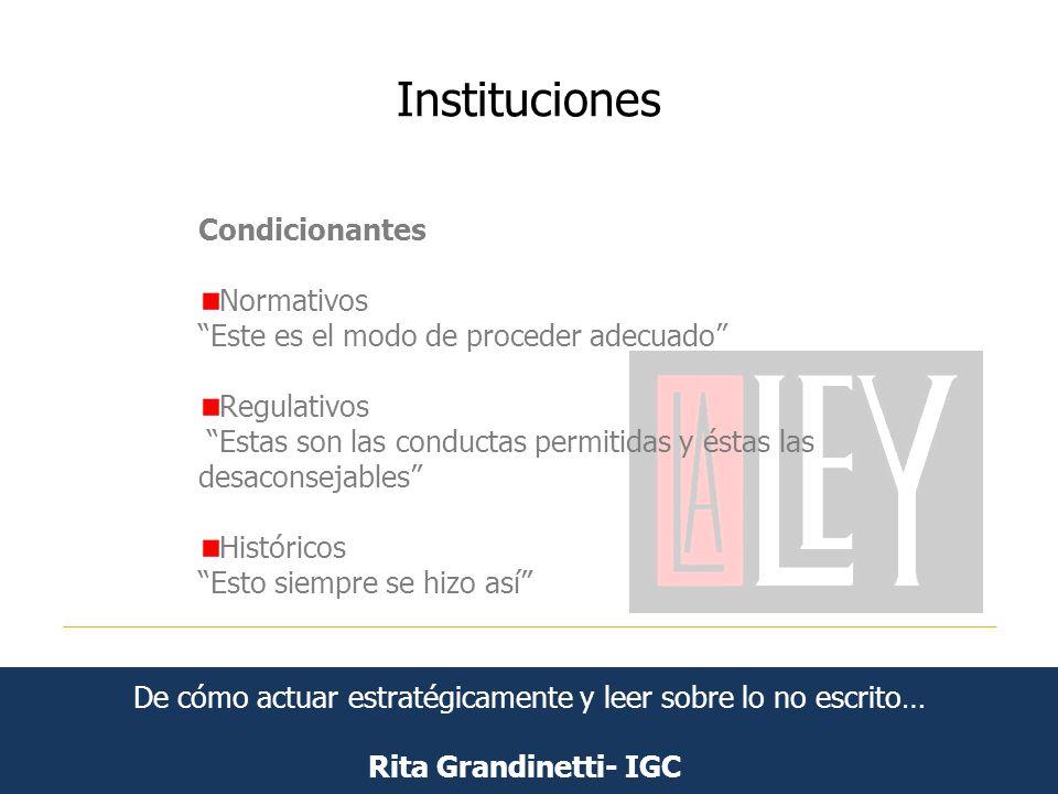 Instituciones Rita Grandinetti- IGC Condicionantes Normativos Este es el modo de proceder adecuado Regulativos Estas son las conductas permitidas y és