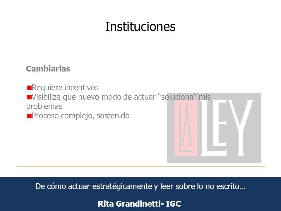 Instituciones Rita Grandinetti- IGC Cambiarlas Requiere incentivos Visibiliza que nuevo modo de actuar soluciona mis problemas Proceso complejo, soste