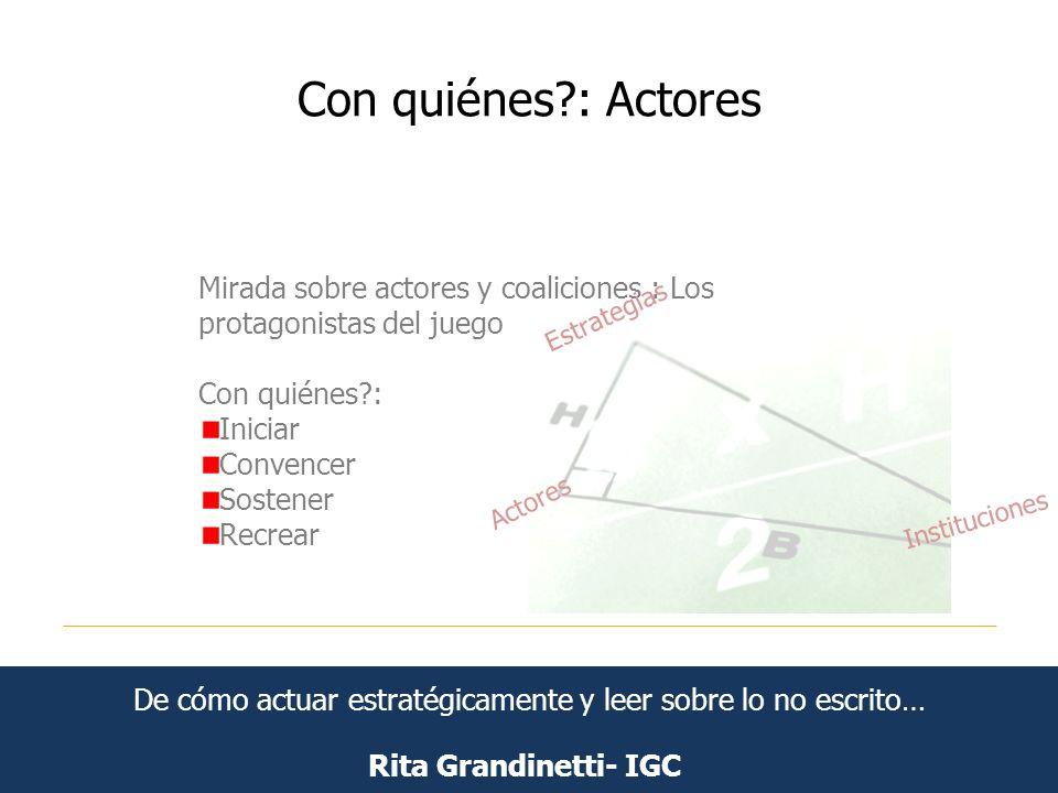 Con quiénes?: Actores Rita Grandinetti- IGC Mirada sobre actores y coaliciones : Los protagonistas del juego Con quiénes?: Iniciar Convencer Sostener