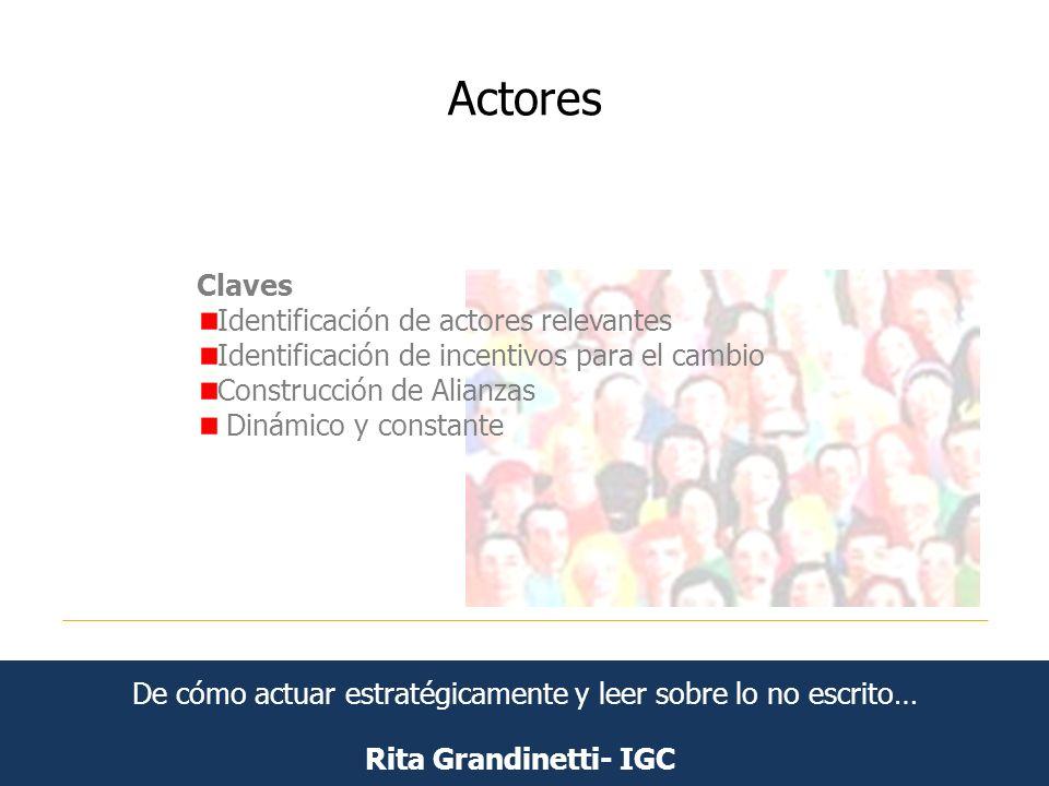 Actores Rita Grandinetti- IGC Claves Identificación de actores relevantes Identificación de incentivos para el cambio Construcción de Alianzas Dinámic