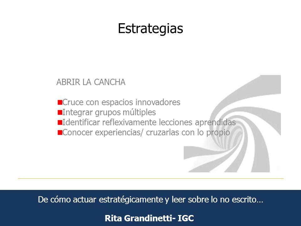 Estrategias Rita Grandinetti- IGC ABRIR LA CANCHA Cruce con espacios innovadores Integrar grupos múltiples Identificar reflexivamente lecciones aprend