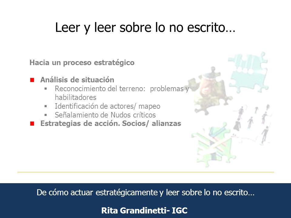 Leer y leer sobre lo no escrito… Rita Grandinetti- IGC Hacia un proceso estratégico Análisis de situación Reconocimiento del terreno: problemas y habi