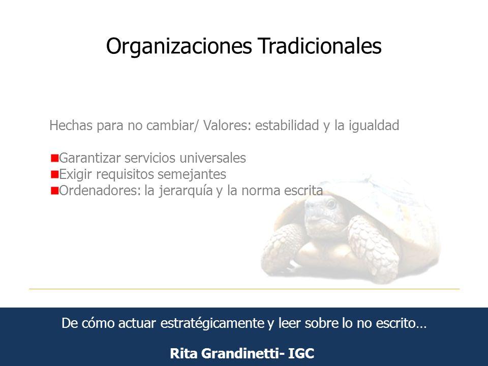 Organizaciones Tradicionales Rita Grandinetti- IGC Hechas para no cambiar/ Valores: estabilidad y la igualdad Garantizar servicios universales Exigir