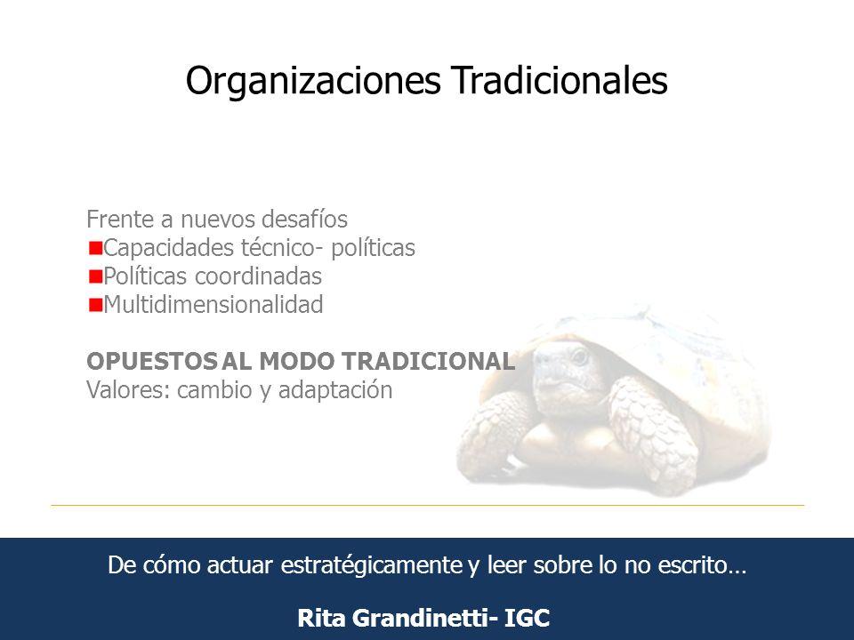Organizaciones Tradicionales Rita Grandinetti- IGC Frente a nuevos desafíos Capacidades técnico- políticas Políticas coordinadas Multidimensionalidad