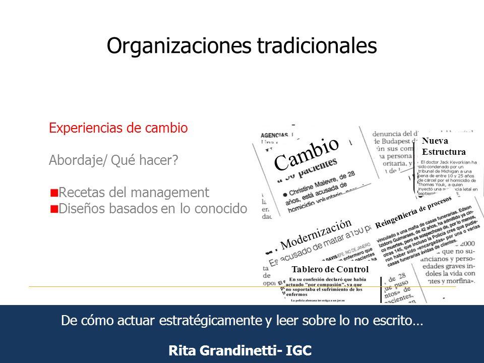 Organizaciones tradicionales Rita Grandinetti- IGC Experiencias de cambio Abordaje/ Qué hacer? Recetas del management Diseños basados en lo conocido C