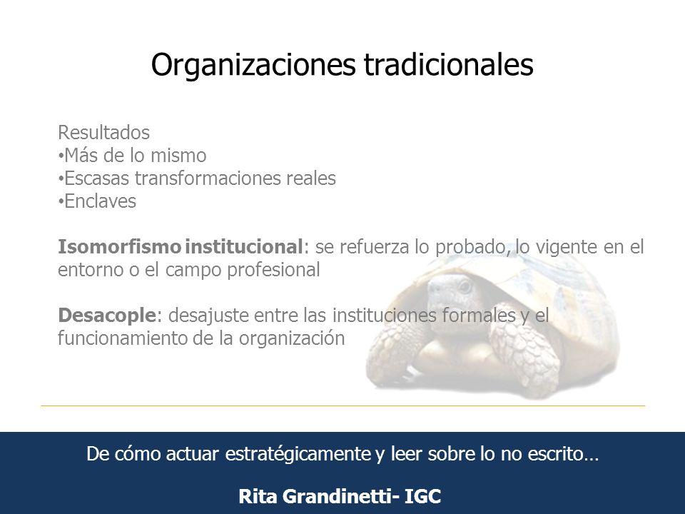 Organizaciones tradicionales Rita Grandinetti- IGC Resultados Más de lo mismo Escasas transformaciones reales Enclaves Isomorfismo institucional: se r