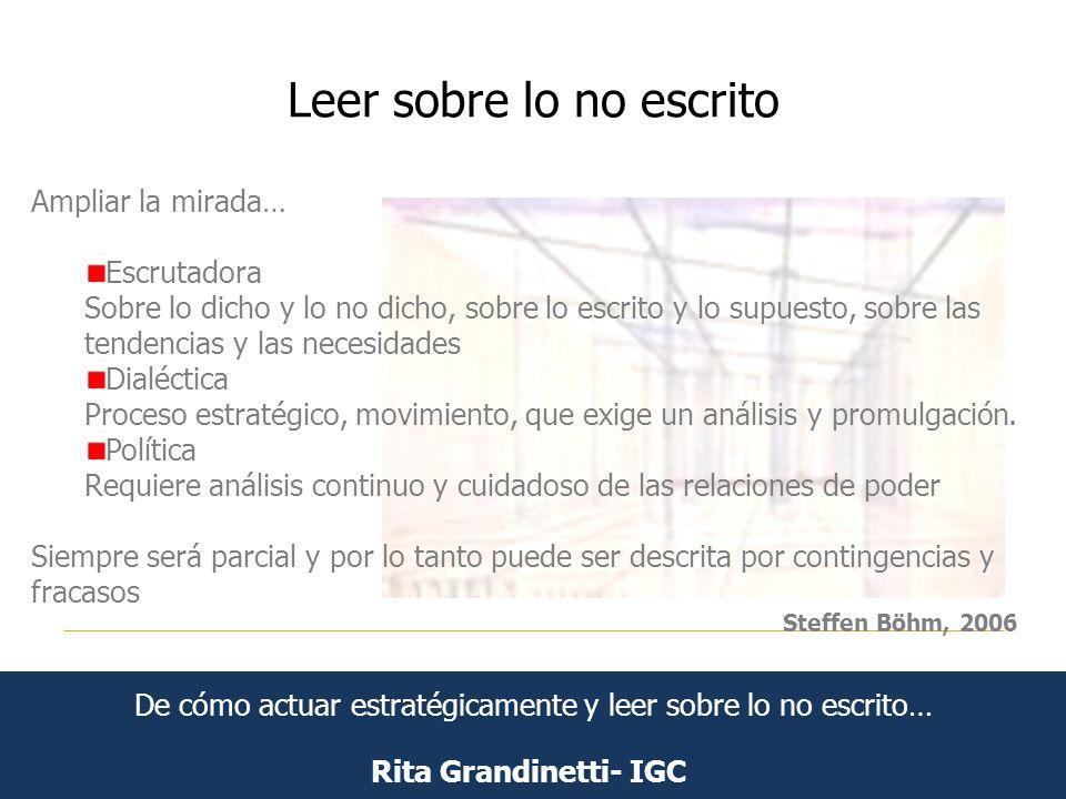 Leer sobre lo no escrito Rita Grandinetti- IGC Ampliar la mirada… Escrutadora Sobre lo dicho y lo no dicho, sobre lo escrito y lo supuesto, sobre las