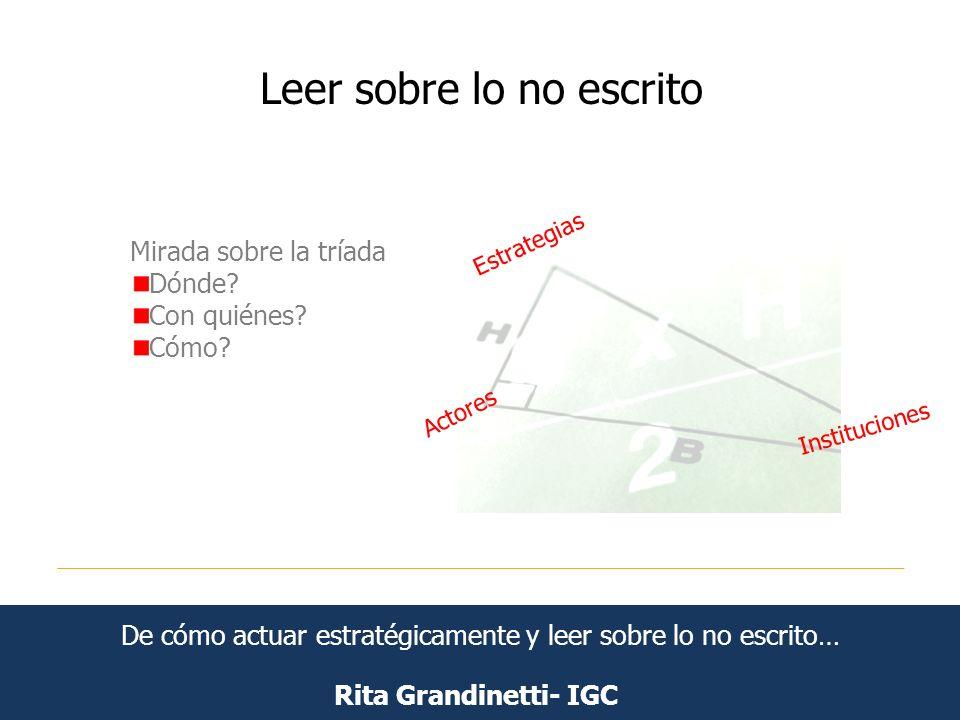 Leer sobre lo no escrito Rita Grandinetti- IGC Mirada sobre la tríada Dónde? Con quiénes? Cómo? Estrategias Actores Instituciones De cómo actuar estra