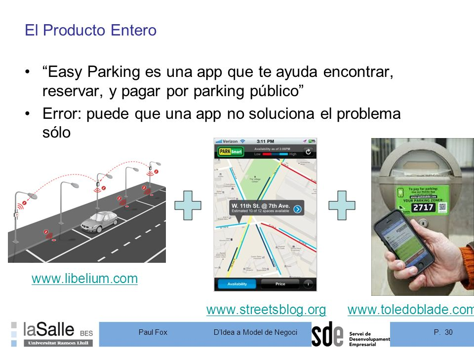 P. 30DIdea a Model de Negoci Paul Fox El Producto Entero Easy Parking es una app que te ayuda encontrar, reservar, y pagar por parking público Error: