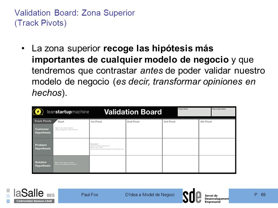 P. 69DIdea a Model de Negoci Paul Fox Validation Board: Zona Superior (Track Pivots) 69 La zona superior recoge las hipótesis más importantes de cualq