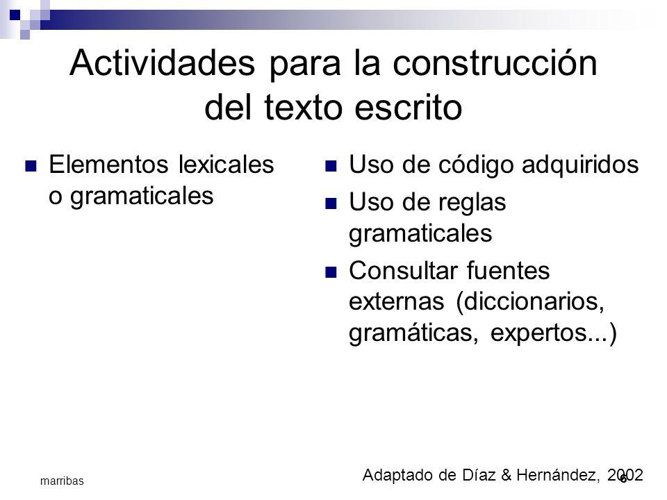 6 marribas Actividades para la construcción del texto escrito Elementos lexicales o gramaticales Uso de código adquiridos Uso de reglas gramaticales C
