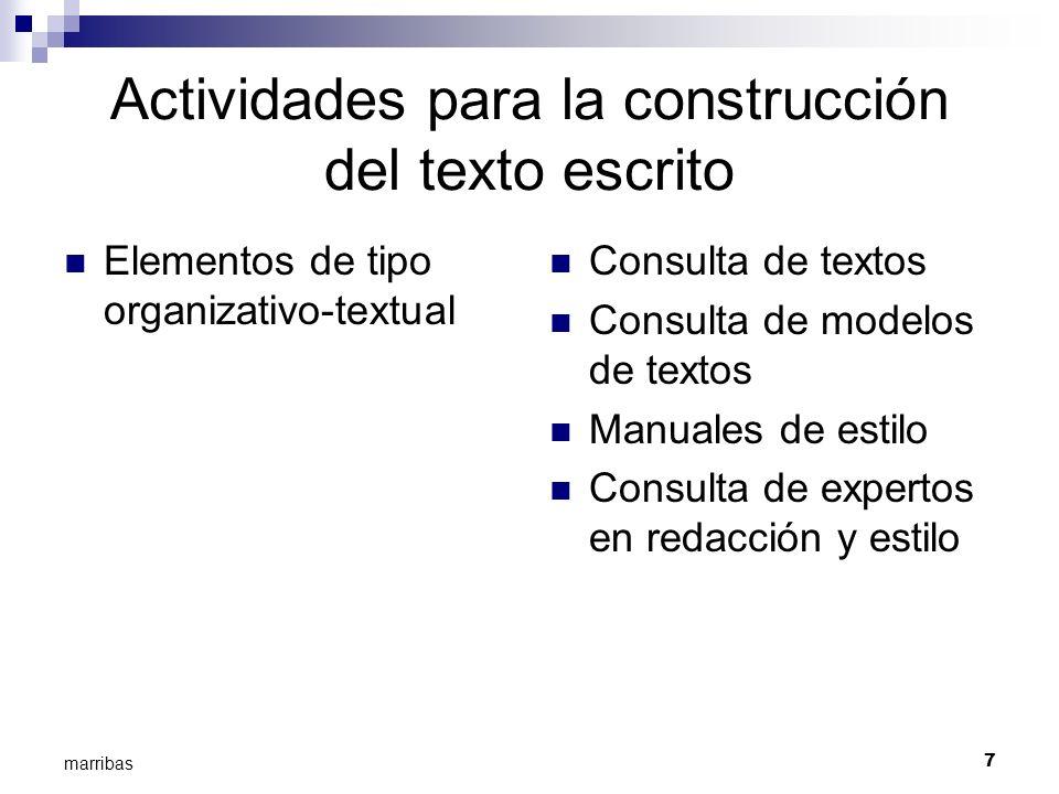 7 marribas Actividades para la construcción del texto escrito Elementos de tipo organizativo-textual Consulta de textos Consulta de modelos de textos