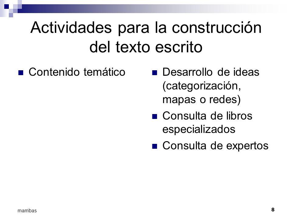 8 marribas Actividades para la construcción del texto escrito Contenido temático Desarrollo de ideas (categorización, mapas o redes) Consulta de libro