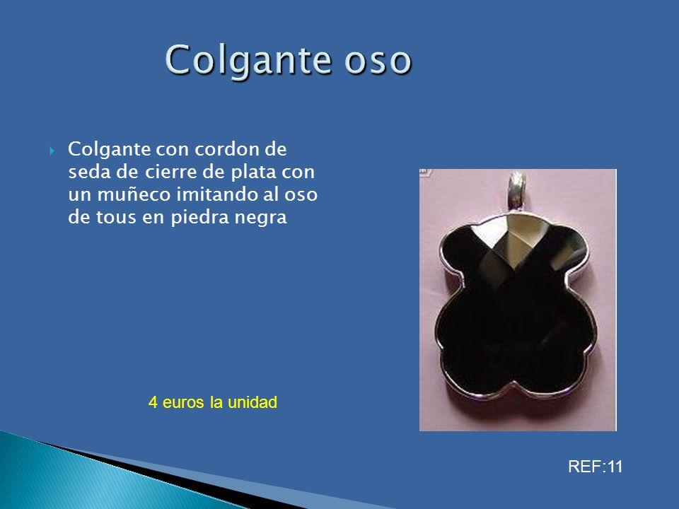 Colgante con cordon de seda de cierre de plata con un muñeco imitando al oso de tous en piedra negra 4 euros la unidad REF:11