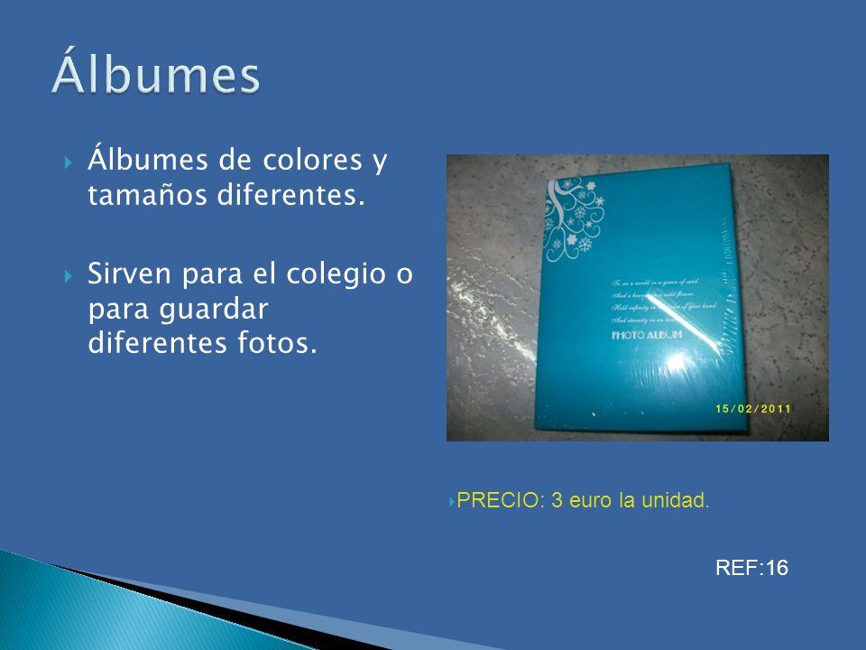 Álbumes de colores y tamaños diferentes. Sirven para el colegio o para guardar diferentes fotos. Álbumes PRECIO: 3 euro la unidad. REF:16