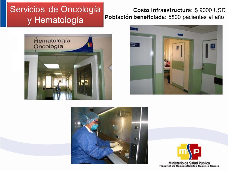 Servicios de Oncología y Hematología Costo Infraestructura: $ 9000 USD Población beneficiada: 5800 pacientes al año
