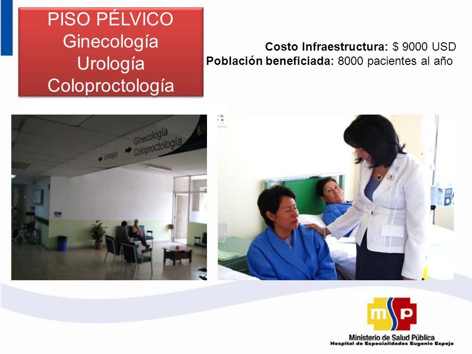 PISO PÉLVICO Ginecología Urología Coloproctología Costo Infraestructura: $ 9000 USD Población beneficiada: 8000 pacientes al año