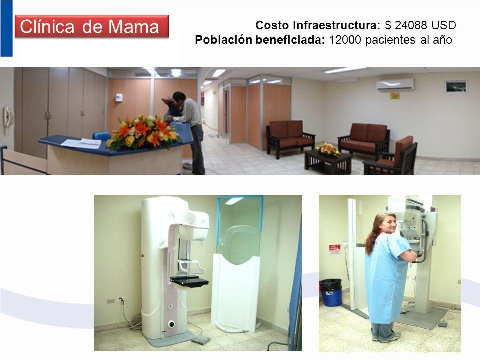 Clínica de Mama Costo Infraestructura: $ 24088 USD Población beneficiada: 12000 pacientes al año