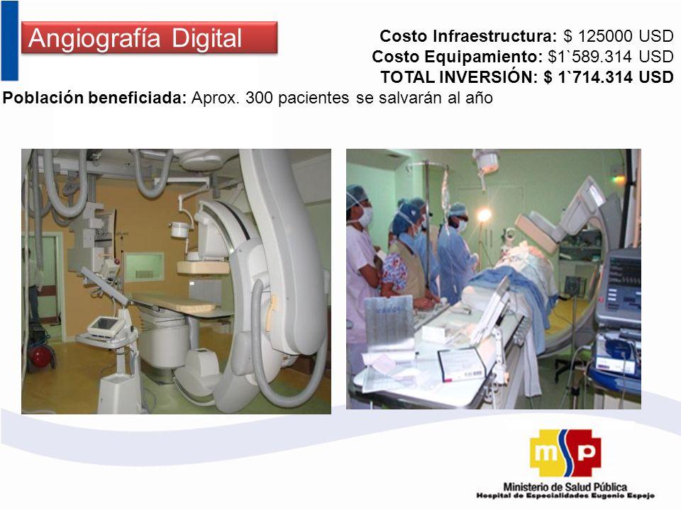 Angiografía Digital Costo Infraestructura: $ 125000 USD Costo Equipamiento: $1`589.314 USD TOTAL INVERSIÓN: $ 1`714.314 USD Población beneficiada: Apr