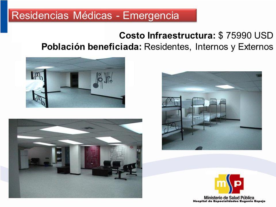 Residencias Médicas - Emergencia Costo Infraestructura: $ 75990 USD Población beneficiada: Residentes, Internos y Externos