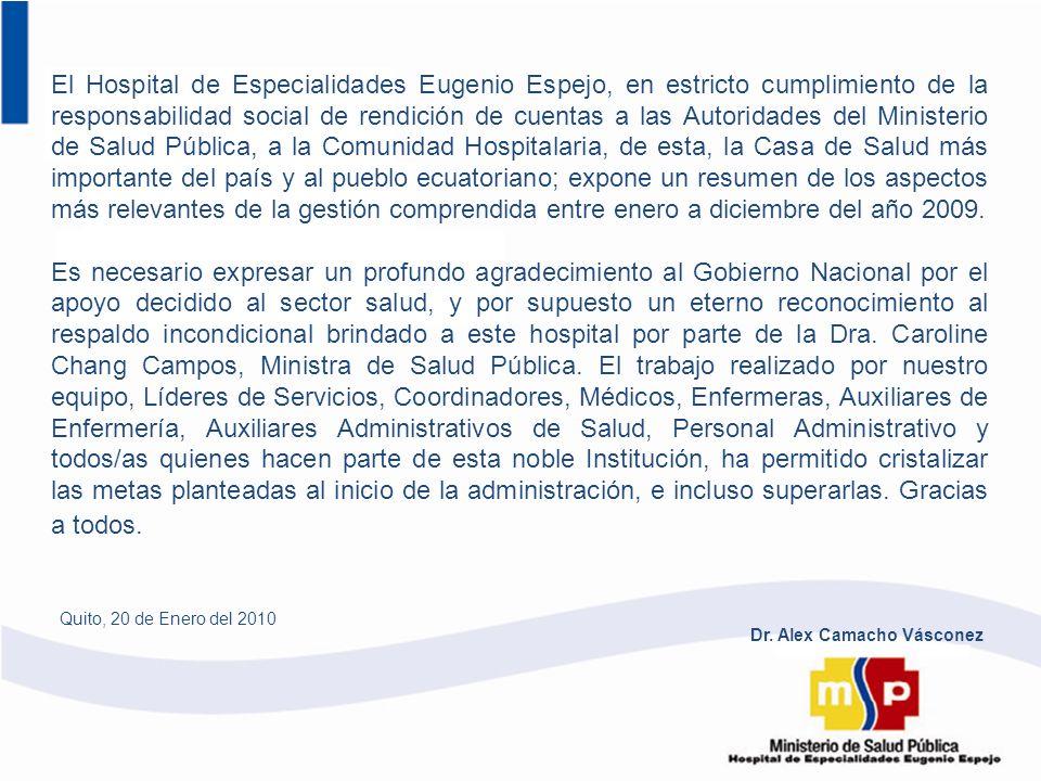 El Hospital de Especialidades Eugenio Espejo, en estricto cumplimiento de la responsabilidad social de rendición de cuentas a las Autoridades del Mini