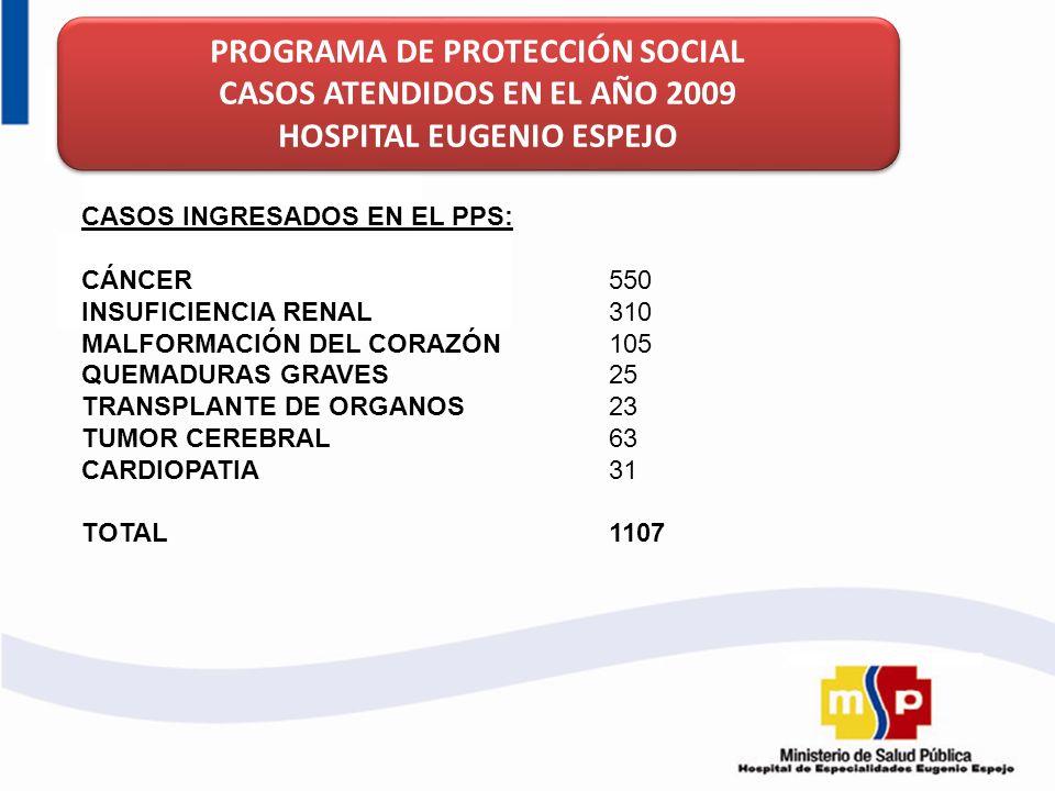 PROGRAMA DE PROTECCIÓN SOCIAL CASOS ATENDIDOS EN EL AÑO 2009 HOSPITAL EUGENIO ESPEJO PROGRAMA DE PROTECCIÓN SOCIAL CASOS ATENDIDOS EN EL AÑO 2009 HOSP
