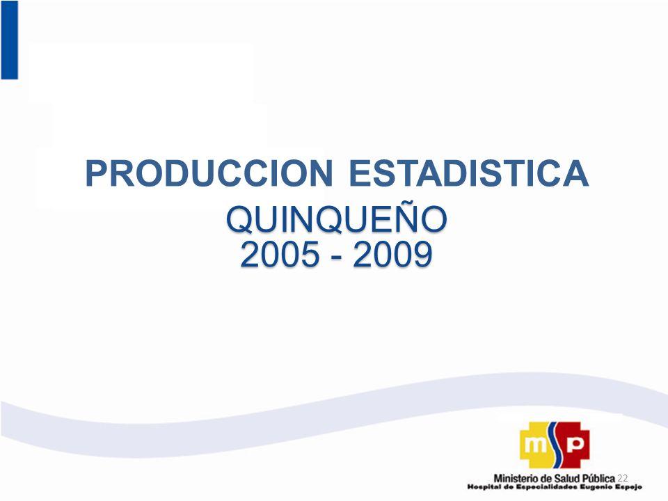 PRODUCCION ESTADISTICA QUINQUEÑO 2005 - 2009 22