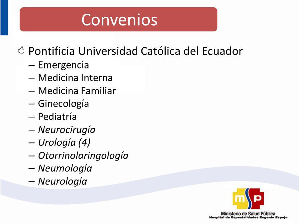 Pontificia Universidad Católica del Ecuador – Emergencia – Medicina Interna – Medicina Familiar – Ginecología – Pediatría – Neurocirugía – Urología (4