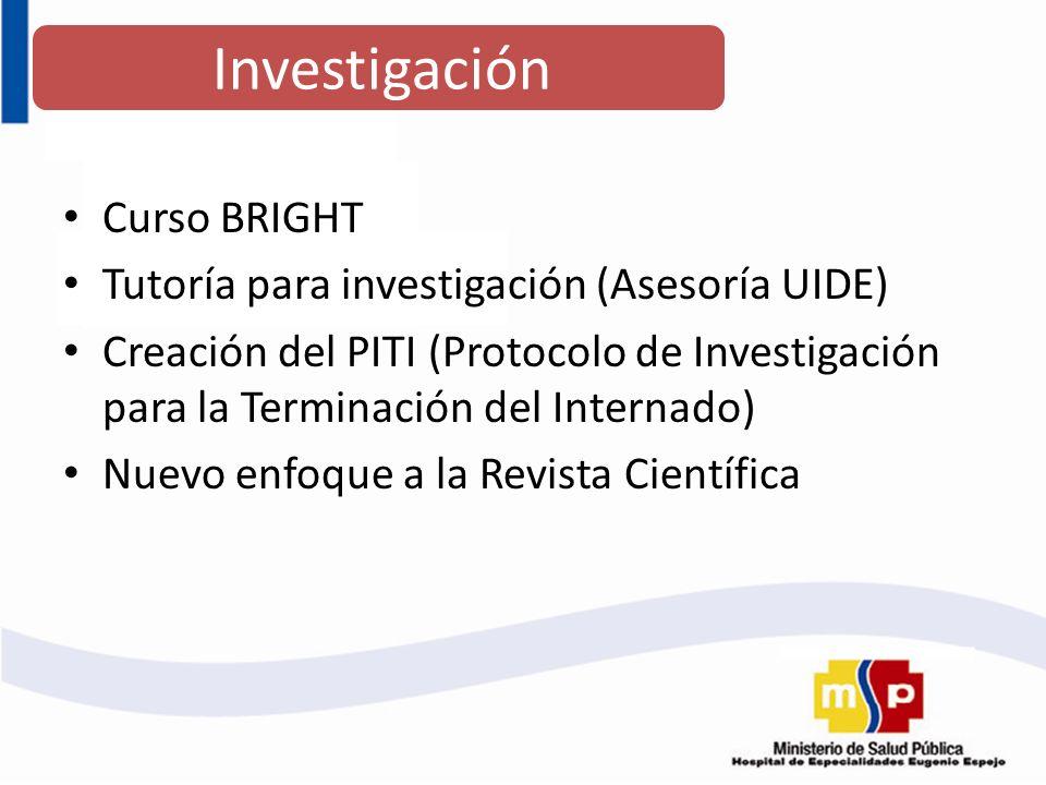 Curso BRIGHT Tutoría para investigación (Asesoría UIDE) Creación del PITI (Protocolo de Investigación para la Terminación del Internado) Nuevo enfoque