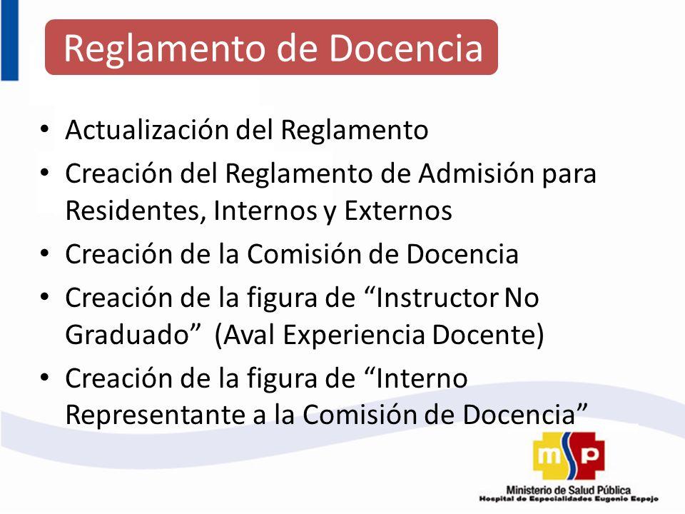 Actualización del Reglamento Creación del Reglamento de Admisión para Residentes, Internos y Externos Creación de la Comisión de Docencia Creación de