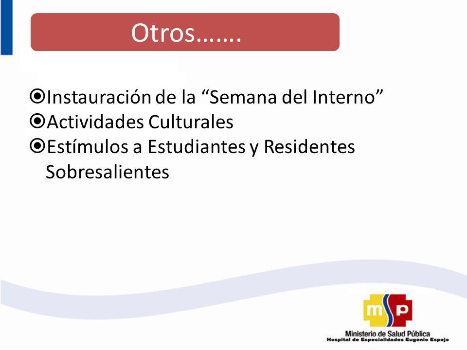 Instauración de la Semana del Interno Actividades Culturales Estímulos a Estudiantes y Residentes Sobresalientes Otros…….