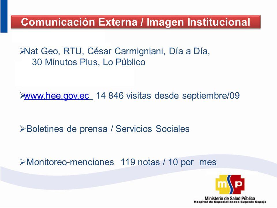 Nat Geo, RTU, César Carmigniani, Día a Día, 30 Minutos Plus, Lo Público www.hee.gov.ec 14 846 visitas desde septiembre/09 www.hee.gov.ec Boletines de