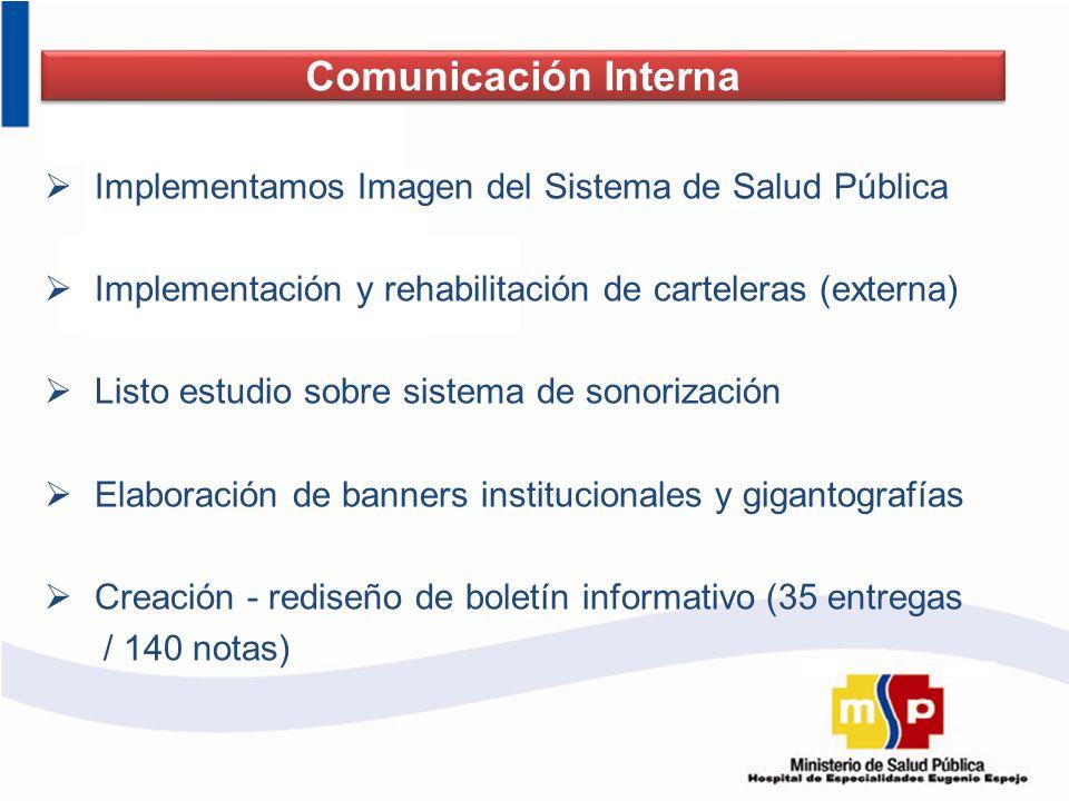 Implementamos Imagen del Sistema de Salud Pública Implementación y rehabilitación de carteleras (externa) Listo estudio sobre sistema de sonorización