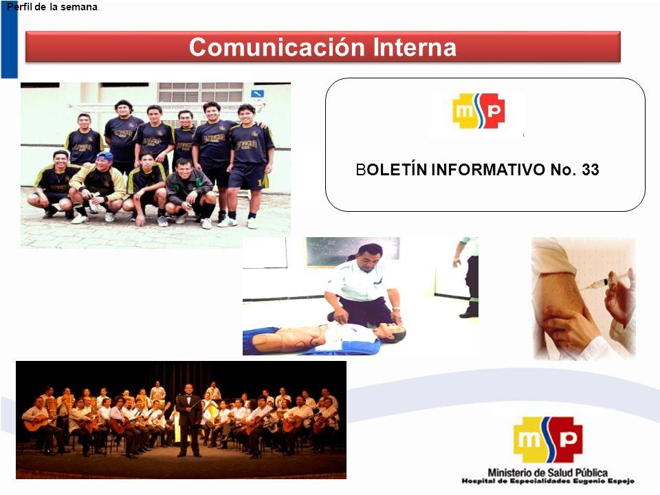 Perfil de la semana. BOLETÍN INFORMATIVO No. 33 Comunicación Interna