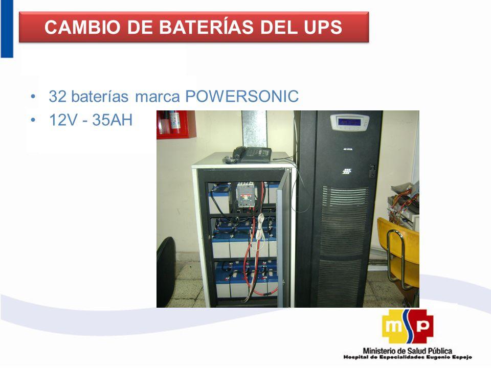 32 baterías marca POWERSONIC 12V - 35AH CAMBIO DE BATERÍAS DEL UPS