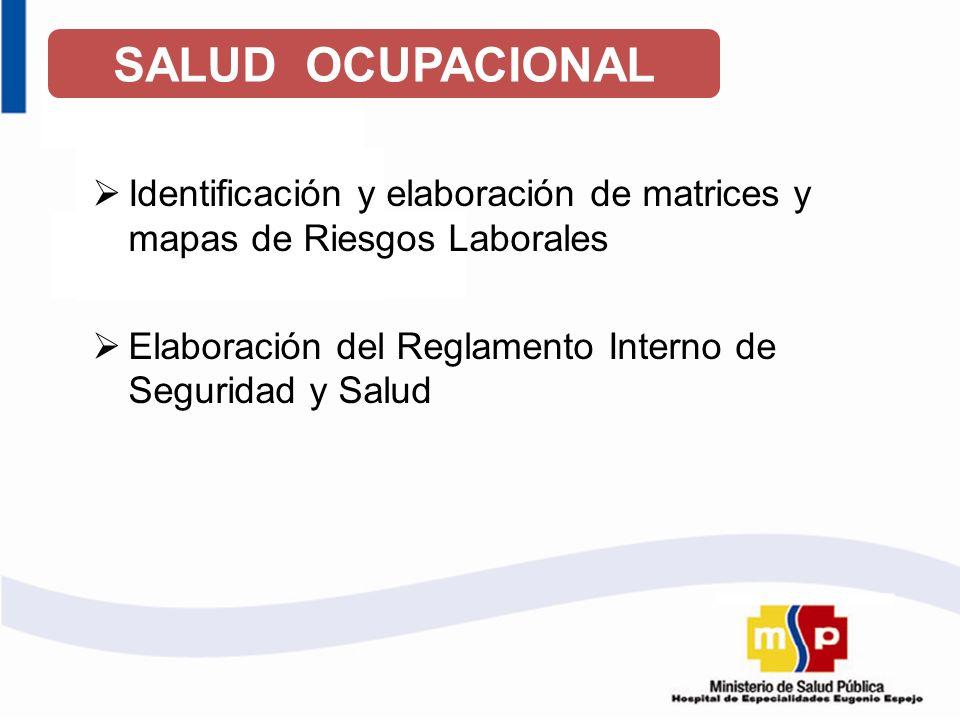 SALUD OCUPACIONAL Identificación y elaboración de matrices y mapas de Riesgos Laborales Elaboración del Reglamento Interno de Seguridad y Salud