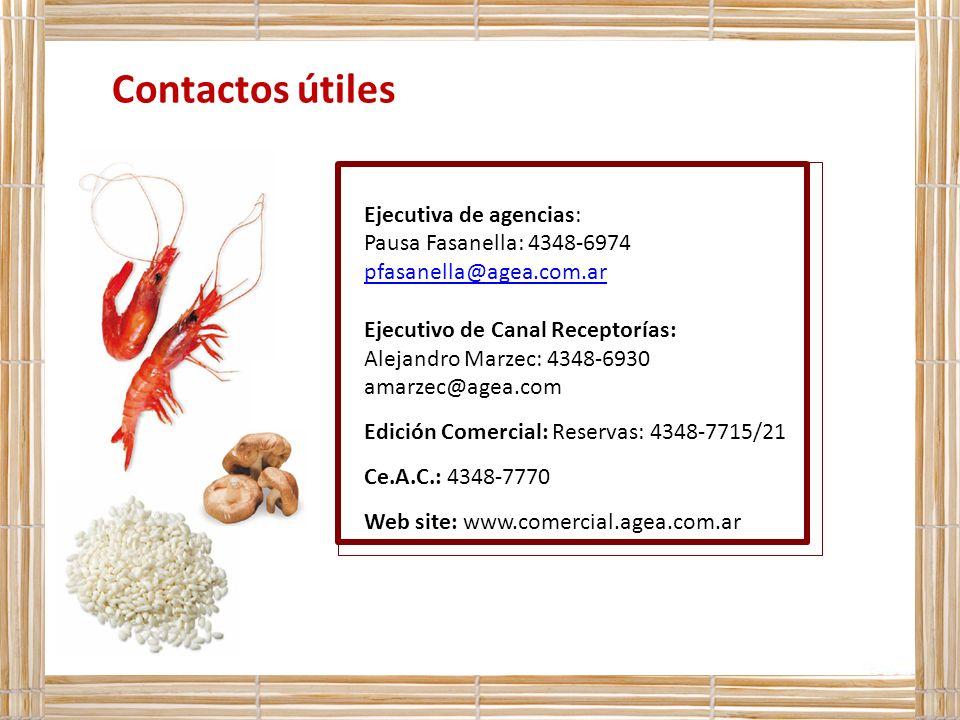 Contactos útiles Ejecutiva de agencias: Pausa Fasanella: 4348-6974 pfasanella@agea.com.ar Ejecutivo de Canal Receptorías: Alejandro Marzec: 4348-6930