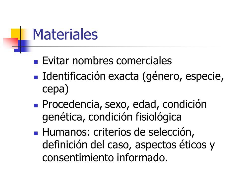 Materiales Evitar nombres comerciales Identificación exacta (género, especie, cepa) Procedencia, sexo, edad, condición genética, condición fisiológica